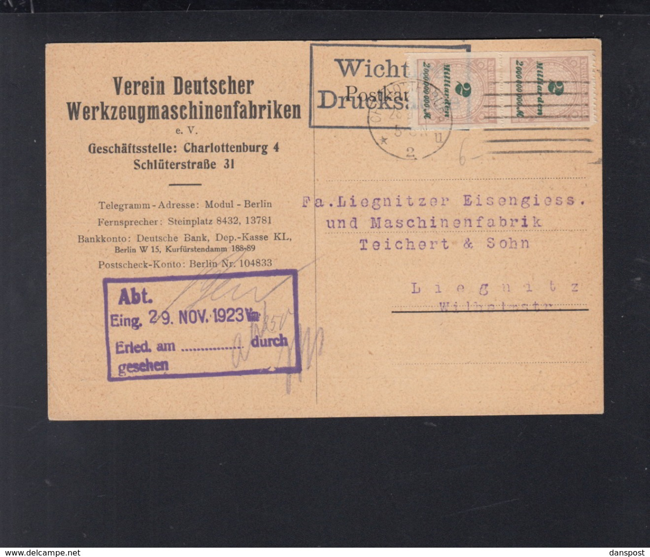 Dt. Reich PK 1923 Charlottenburg Nach Liegnitz MeF - Briefe U. Dokumente
