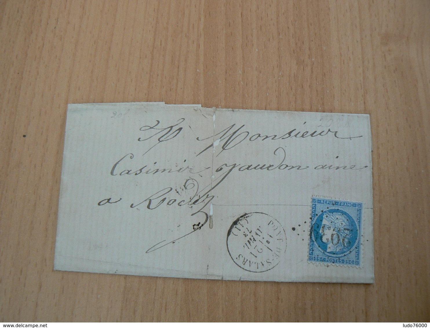 CP 110 / CERES N° 60 SUR LETTRE - 1871-1875 Cérès