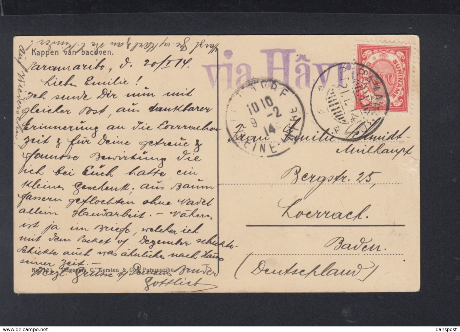 Postkaart Suriname 1914 - Suriname ... - 1975