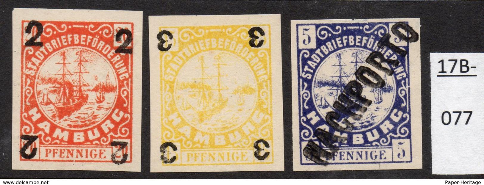 Germany Deutschland Privatpost Local Post Stadtpost :  Hamburg : 3 Unissued Stamps – Nicht Ausgegeben. - Private