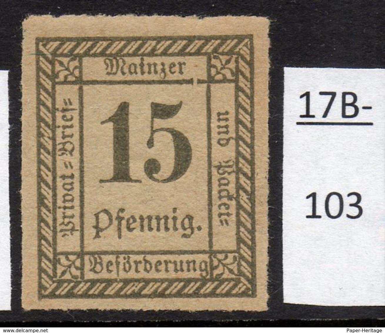 Germany Deutschland Privatpost Local Post Stadtpost :  Mainz Mi. C. 54 MH - Private