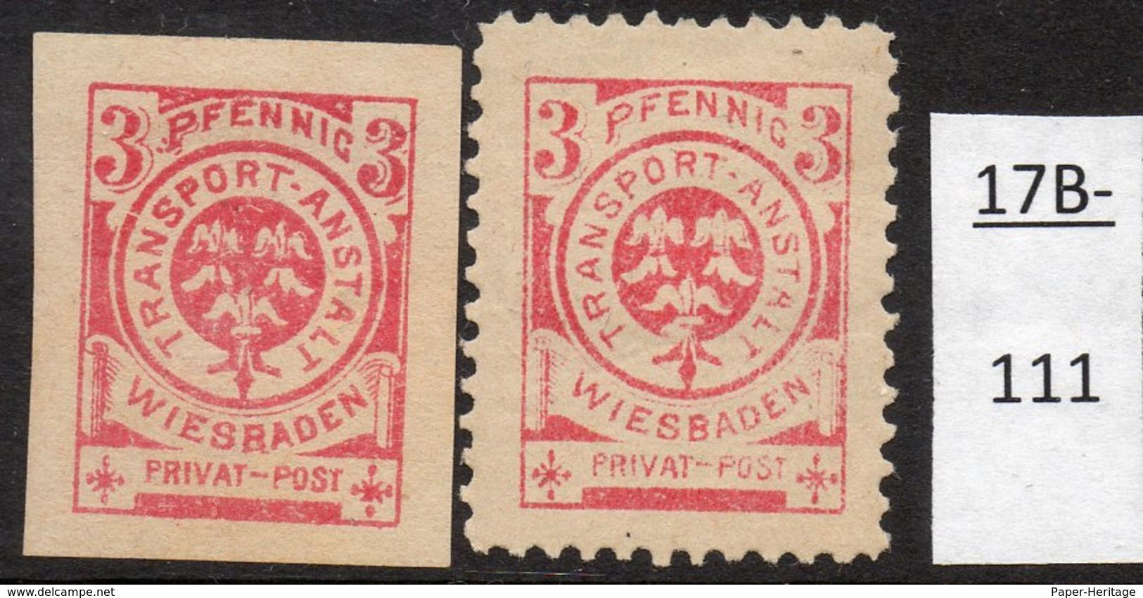 Germany Deutschland Privatpost Local Post Stadtpost :  Wiesbaden Mi. 30B No Gum, 31A MH (2) - Private