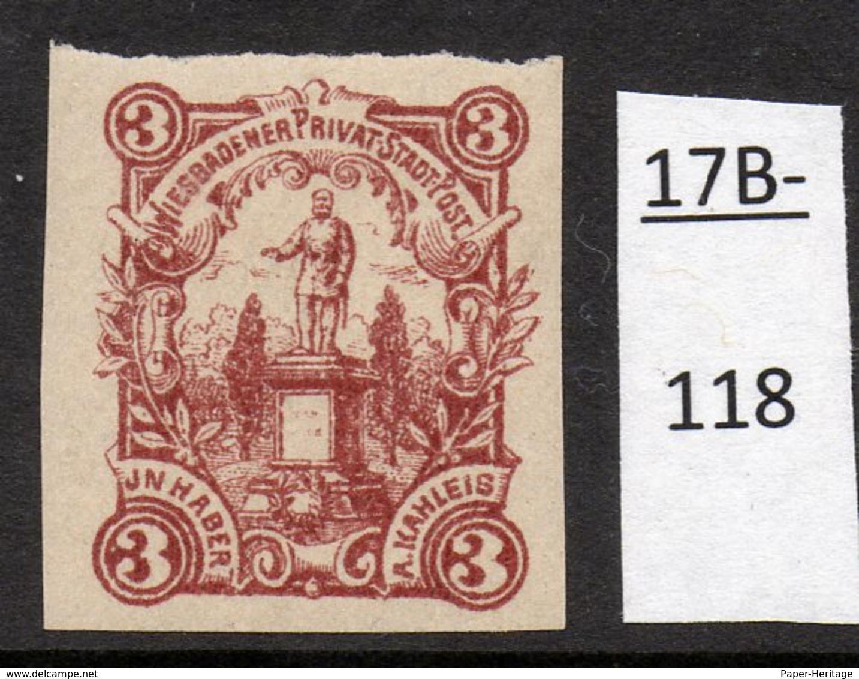 Germany Deutschland Privatpost Local Post Stadtpost :  Wiesbaden Mi. 100C. MH - Private