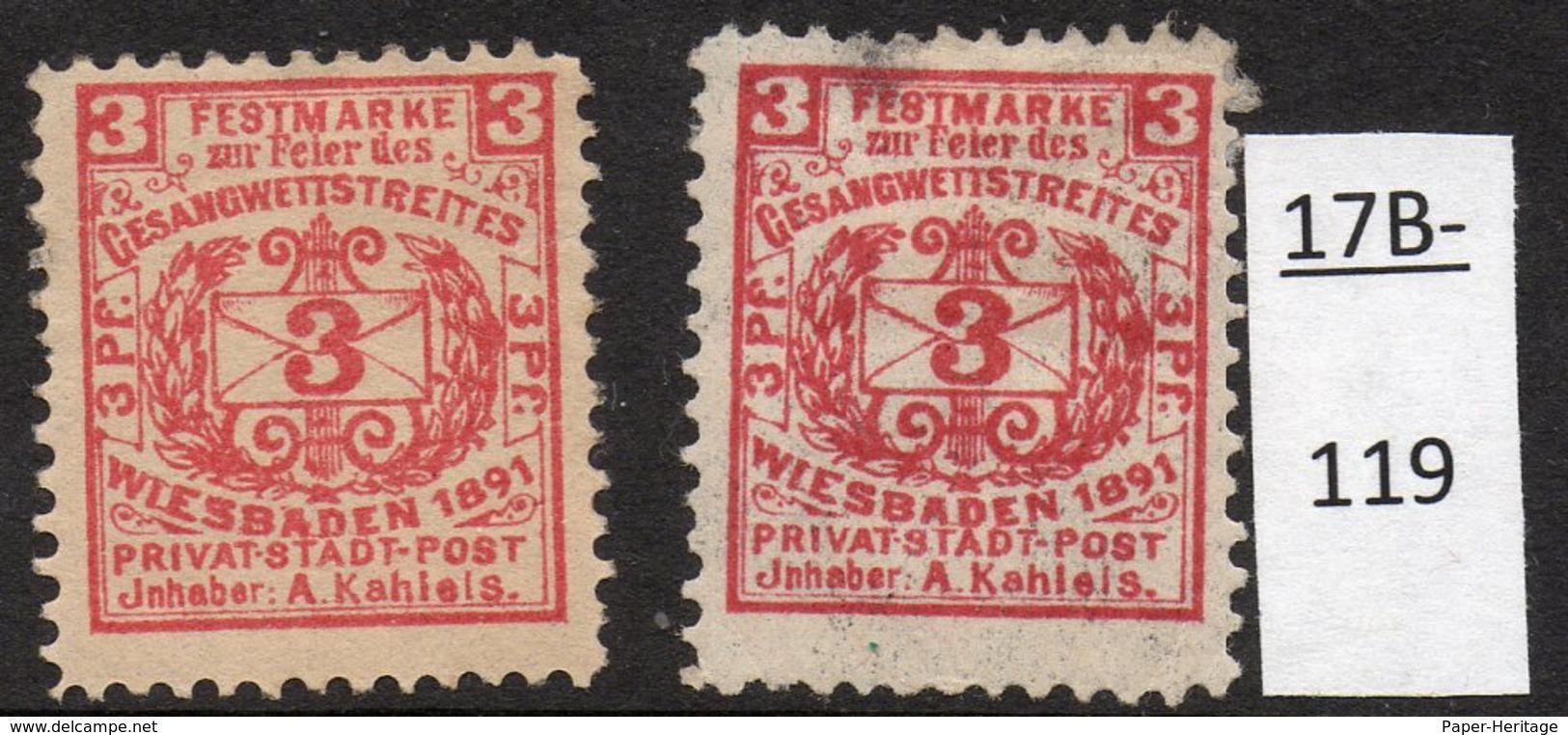 Germany Deutschland Privatpost Local Post Stadtpost :  Wiesbaden Mi. 79a, 79b Thin. MH(2) - Private