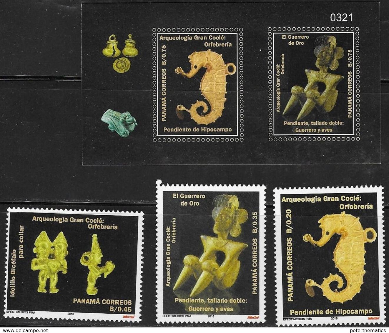 PANAMA, 2018, MNH,ARCHAEOLOGY, GOLD ARTIFACTS, SEAHORSES, WARRIORS, BIRDS, 3v+SHEETLET - Archéologie
