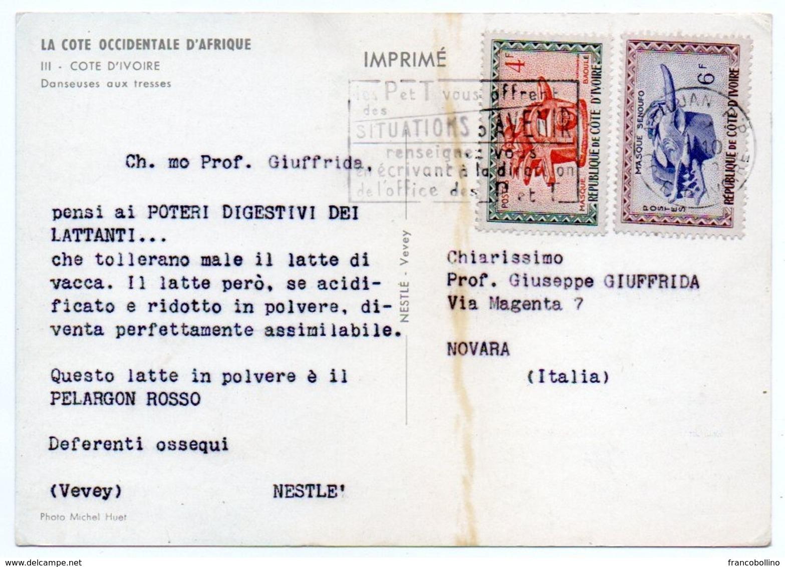 DEAR DOCTOR TYPE PUBL. PELARGON ROSSO-NESTLE' / COTE D'IVOIRE DANSEUSES AUX TRESSES - SEINS NUS/BREASTS NUDE - Costa D'Avorio