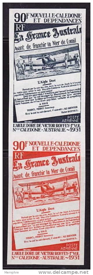 1971  Paire Verticale D'essais De Couleur Monochromes 40è Ann Liaison N-Calédonie - Australie  Yv PA 125 ** - 10 - Ongetande, Proeven & Plaatfouten
