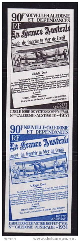 1971  Paire Verticale D'essais De Couleur Monochromes 40è Ann Liaison N-Calédonie - Australie  Yv PA 125 ** - 12 - Ongetande, Proeven & Plaatfouten