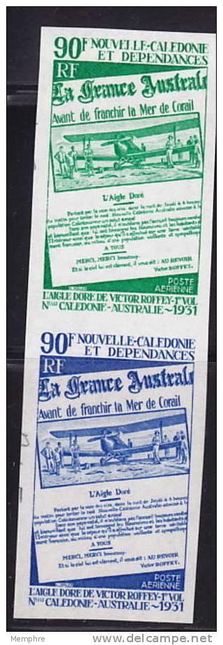 1971  Paire Verticale D'essais De Couleur Monochromes 40è Ann Liaison N-Calédonie - Australie  Yv PA 125 ** - 6 - Non Dentellati, Prove E Varietà