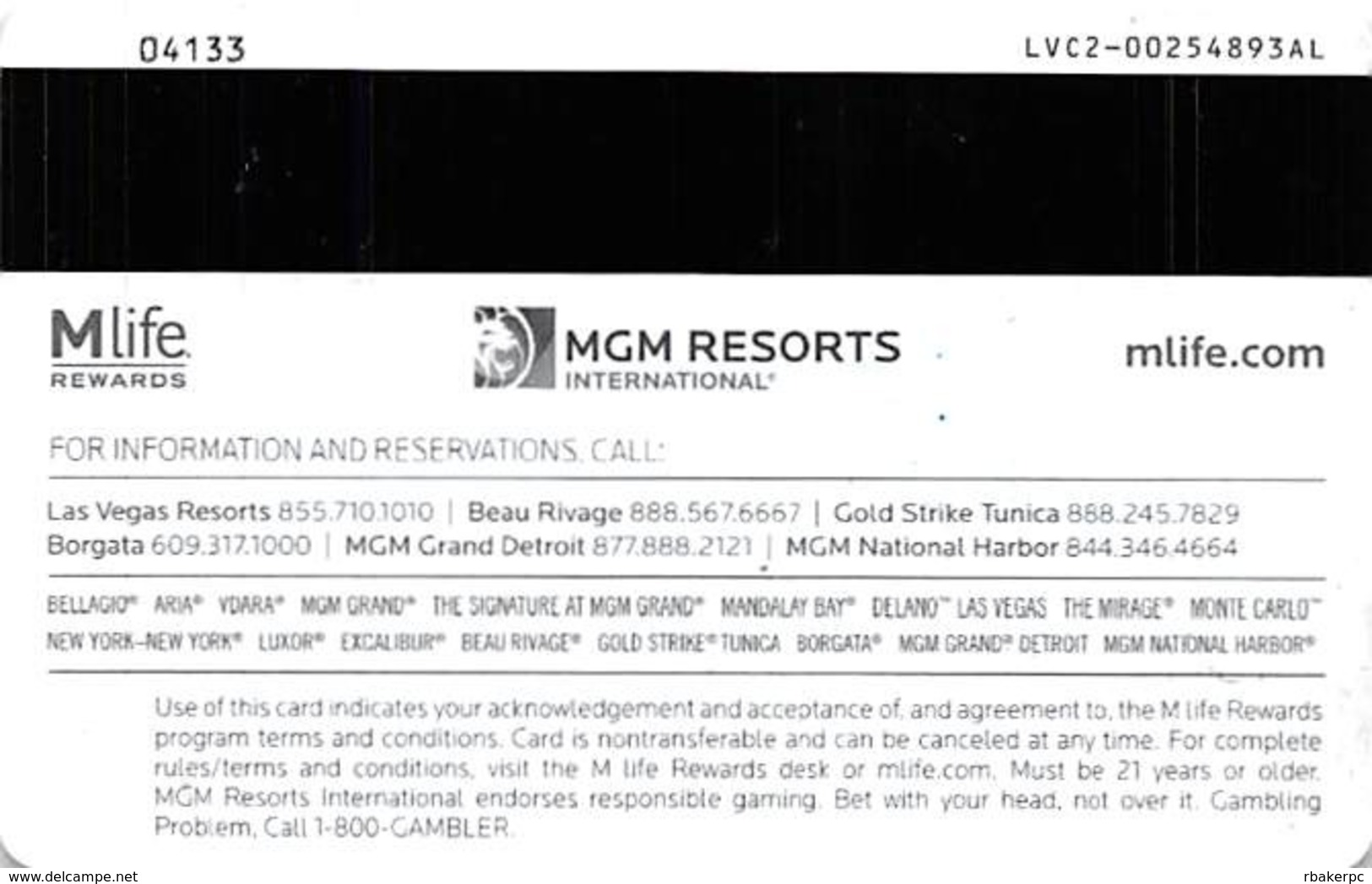 MGM Casinos - Multiple Locations - Gold MLife Slot Card With LVC2-00254893AL Over Mag Stripe - Casino Cards