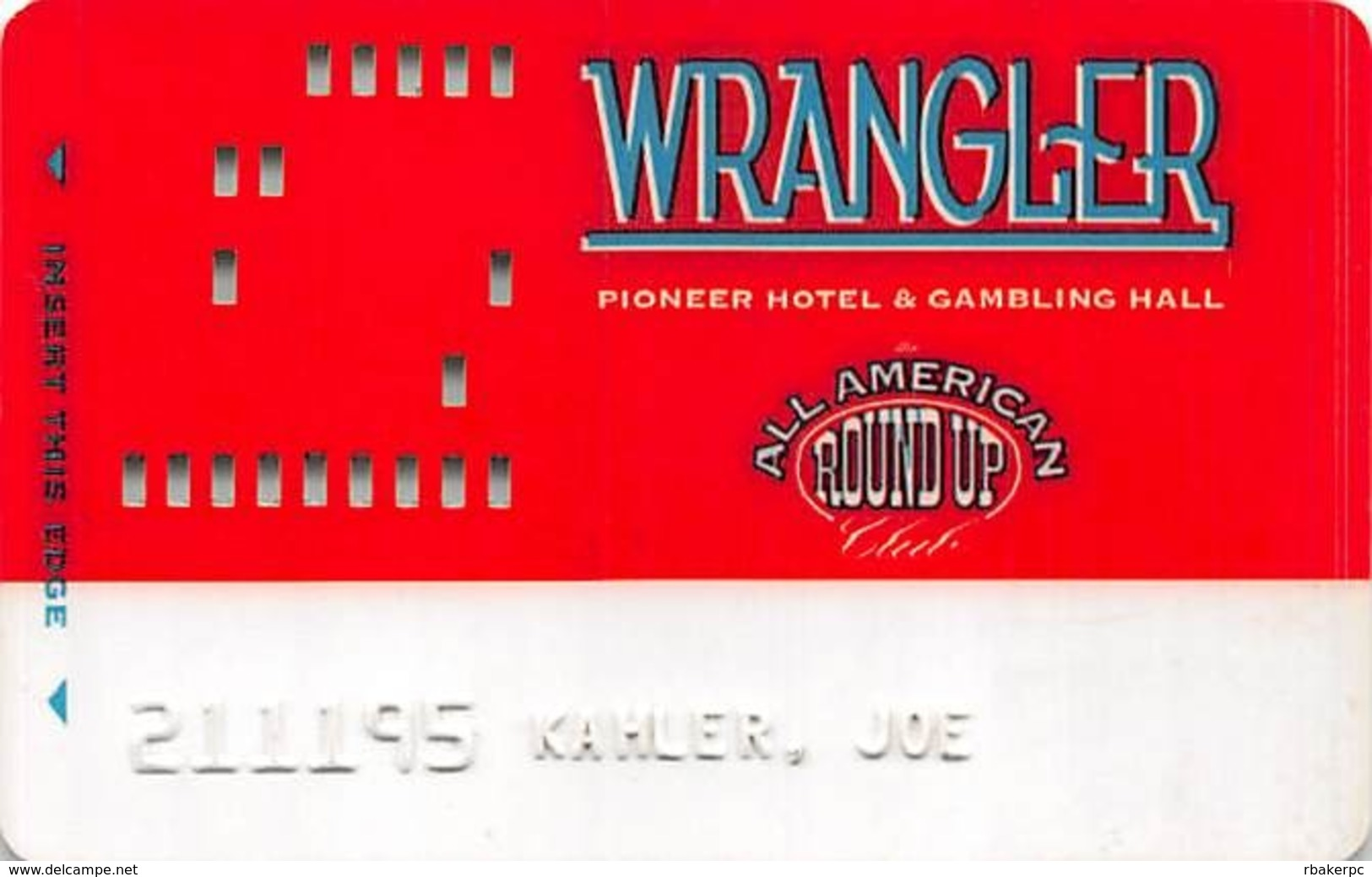 Pioneer Hotel & Gambling Hall Laughlin NV - Wrangler Slot Card - Casino Cards