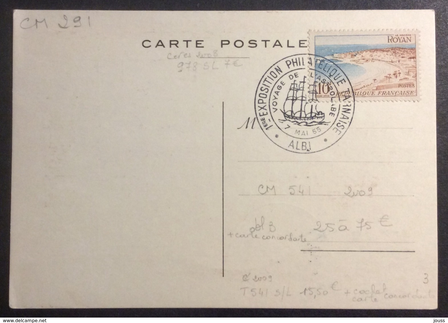 CM291 Carte Maximum Lapérouse Albi Exposition Philatélique Tarnaise Voyage Astrolabe 7/5/1955 - Cartes-Maximum