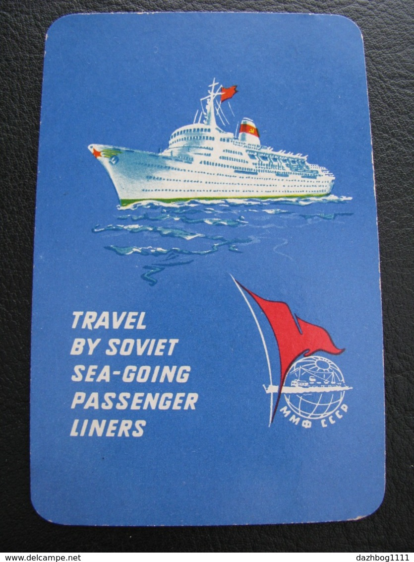 USSR Soviet Russia  Pocket Calendar Travel By Soviet Sea-Going Passenger Liners Ship 1965 Rare - Calendars