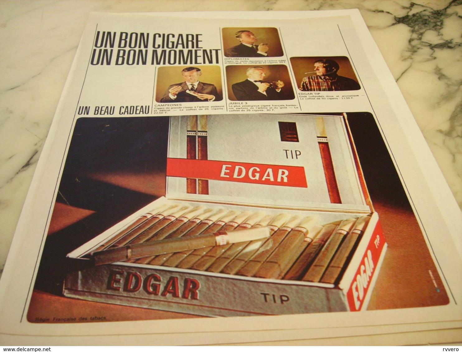 ANCIENNE PUBLICITE CIGARE EDGAR 1966 - Raucherutensilien (ausser Tabak)