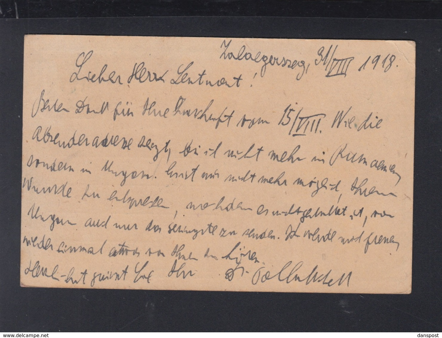 Hungary Stationery Zalaegerszeg 1918 To Germany - Ungarn