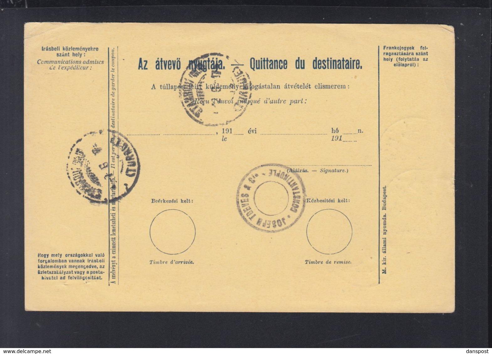 Hungary Parcel Card 1917 Fiume To Turkey - Briefe U. Dokumente