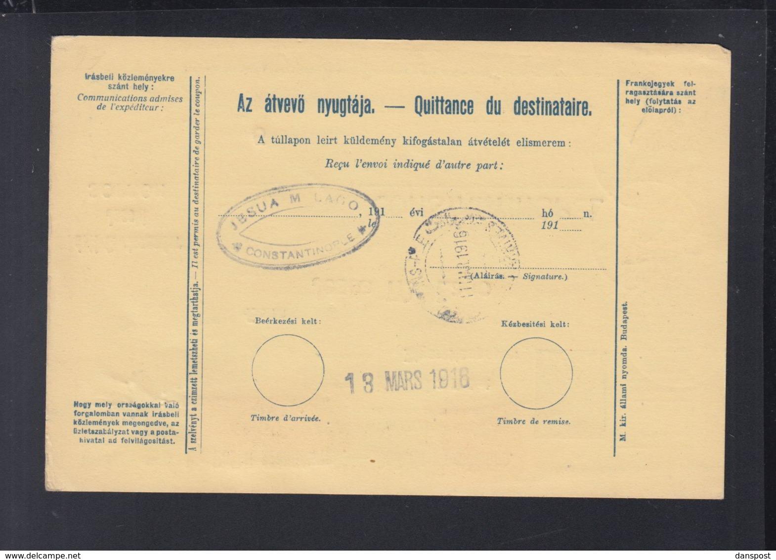 Hungary Parcel Card 1916 Sopron Orsova To Turkey - Ungarn