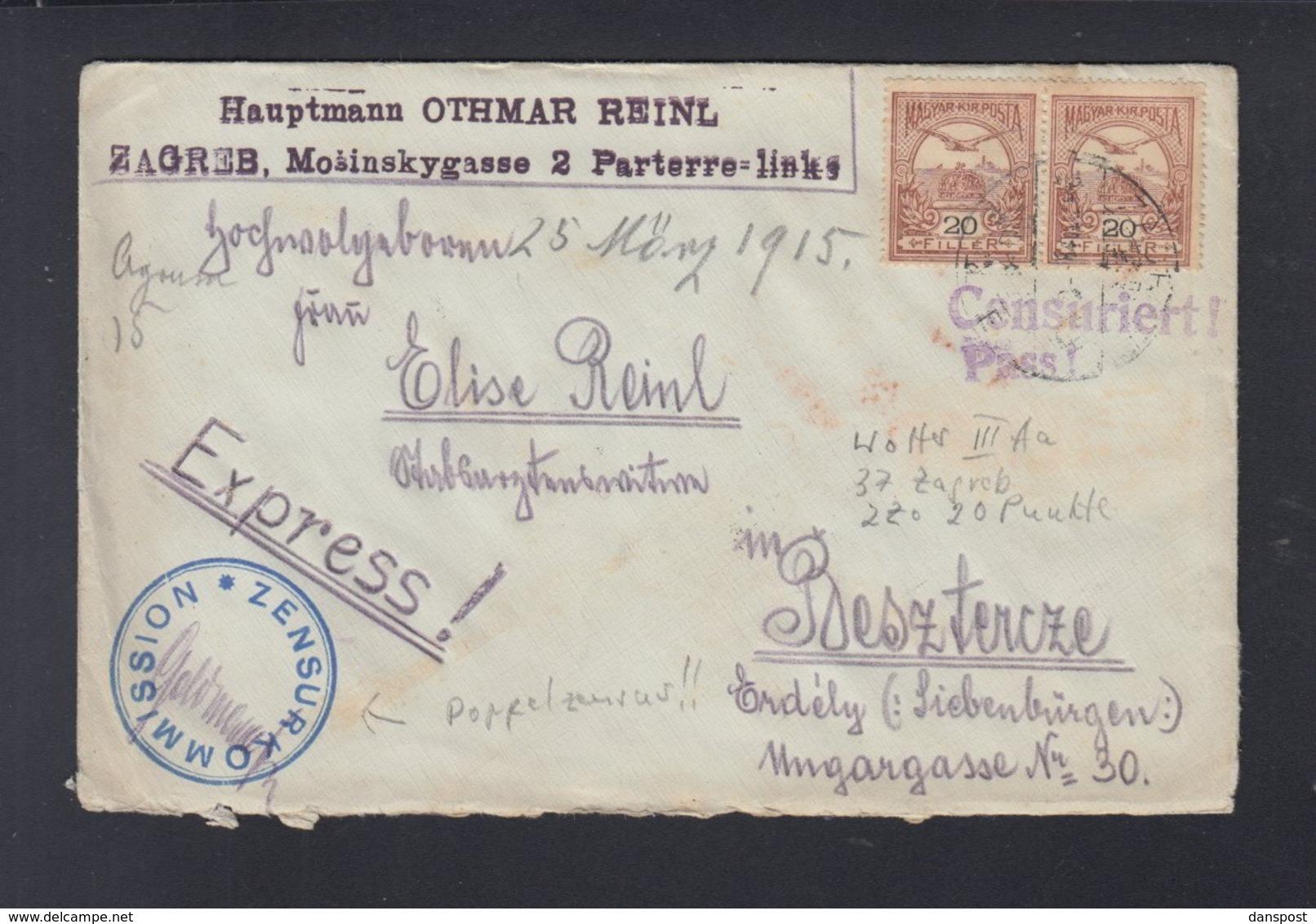 Ungarn Zensurbrief Hauptmann Othmar Reinl Zagreb Nach Rumänien Romania Bistrita Beszterce - Briefe U. Dokumente