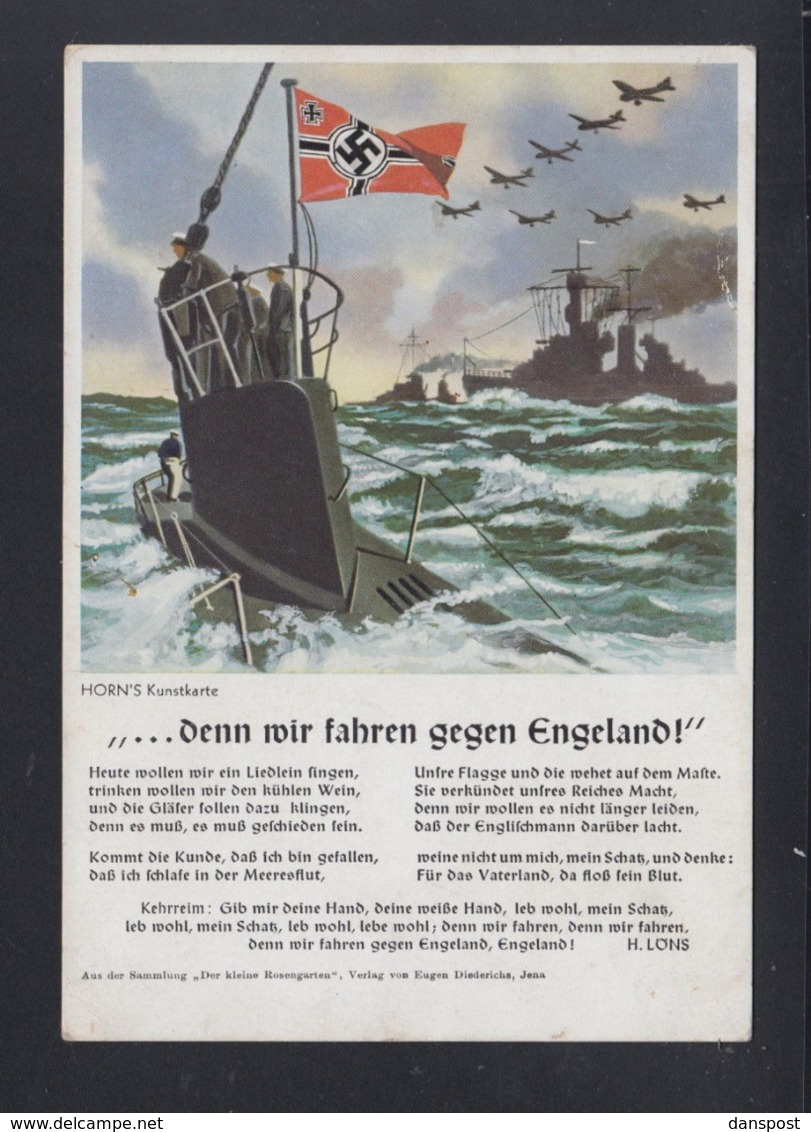 Dt. Reich PK Uboot Denn Wir Fahren Gegen England - Weltkrieg 1939-45
