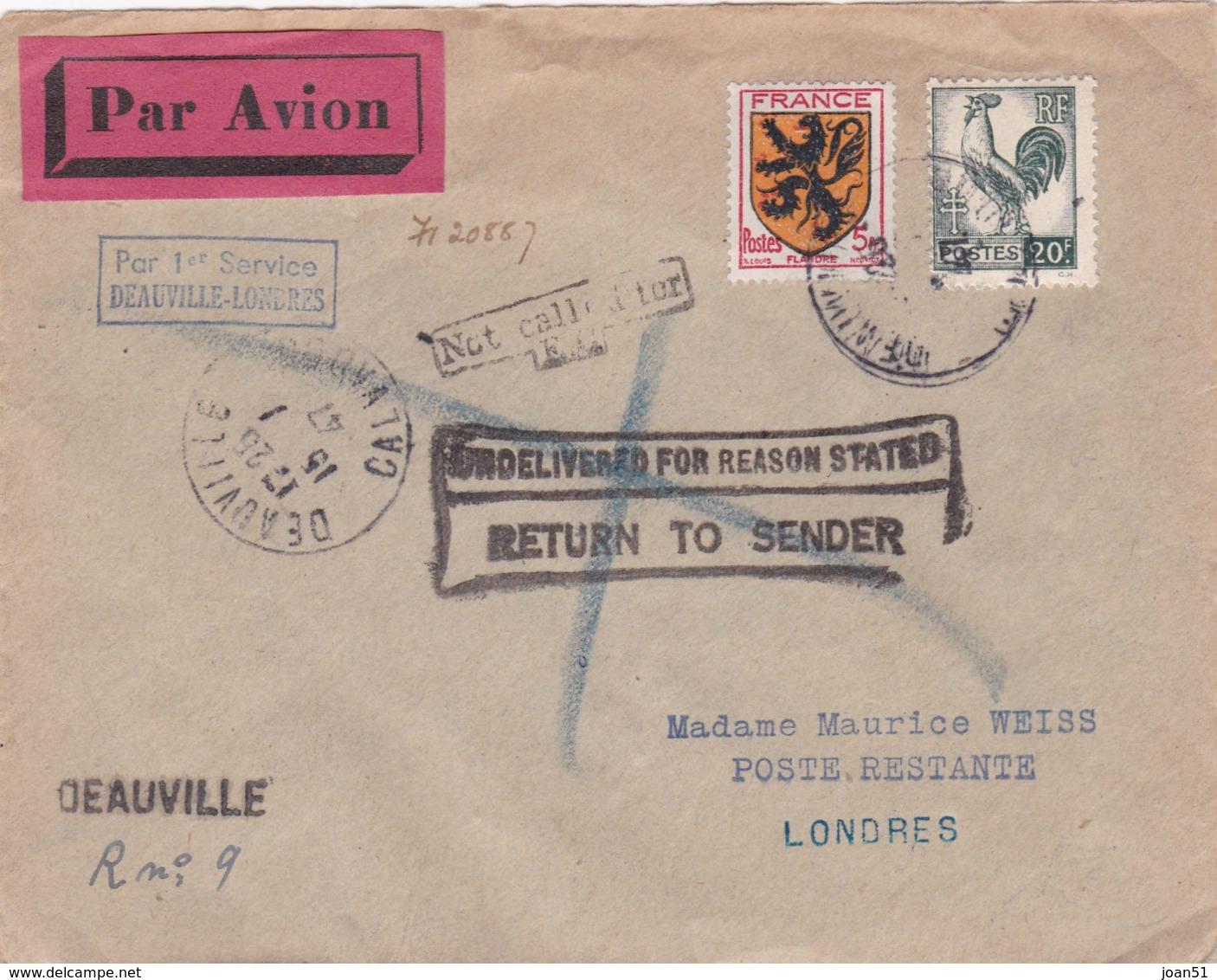M 13 FLANDRE 602 + COQ VERT NOIR DEAUVILLE POUR LONDRES 15/7/1947 - Postmark Collection (Covers)