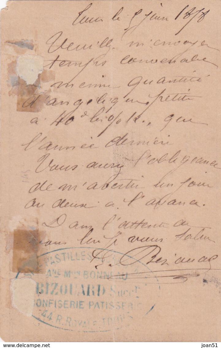 M 13  CARTE PRECURSEUR MEILLERAIE DE BRETAGNE LE 6/6/1878 - Postmark Collection (Covers)