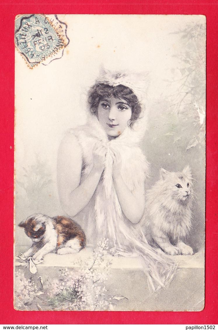 Animaux-506A45  Carte Gaufrée, Un Petit Maréchal Ferrant Entouré De 2 Cochons, Cpa Précurseur - Cerdos