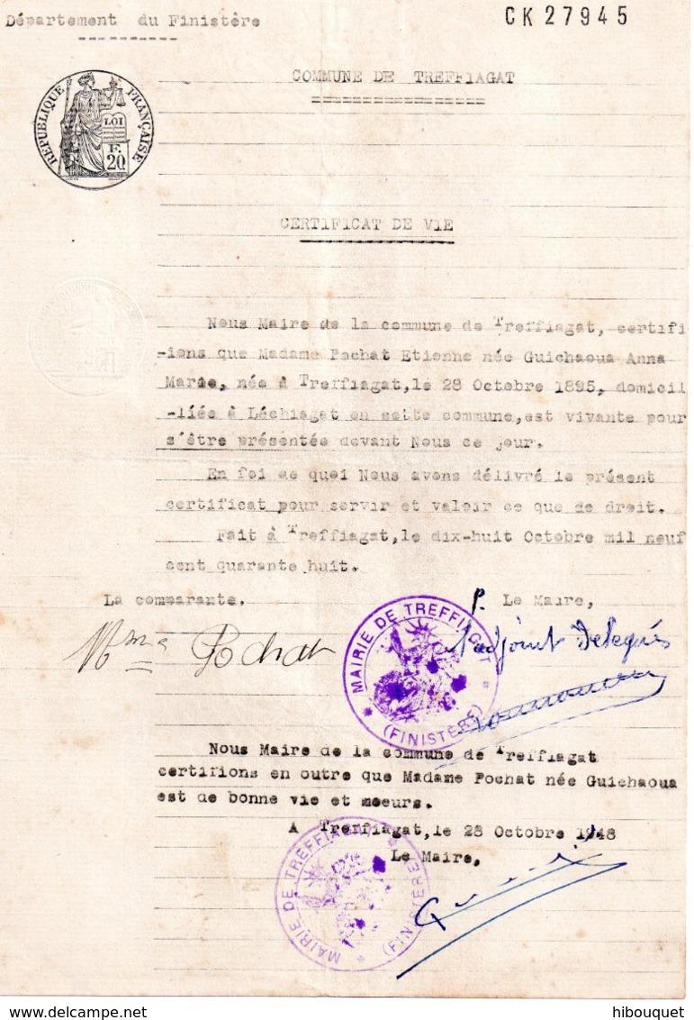 Certificat De Vie, Mairie De Treffiagat - Fiscaux