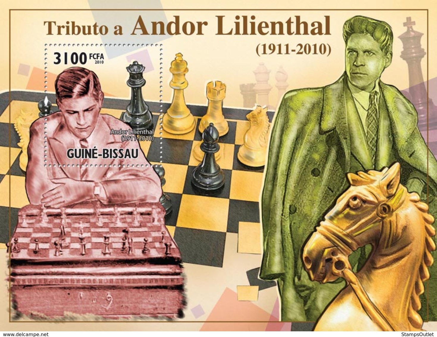 Guinea - Bissau 2010 - Chess- Tribute Andor Lilienthal (1911-2010) S/s Y&T 600, Michel 5158/BL884 - Guinea-Bissau