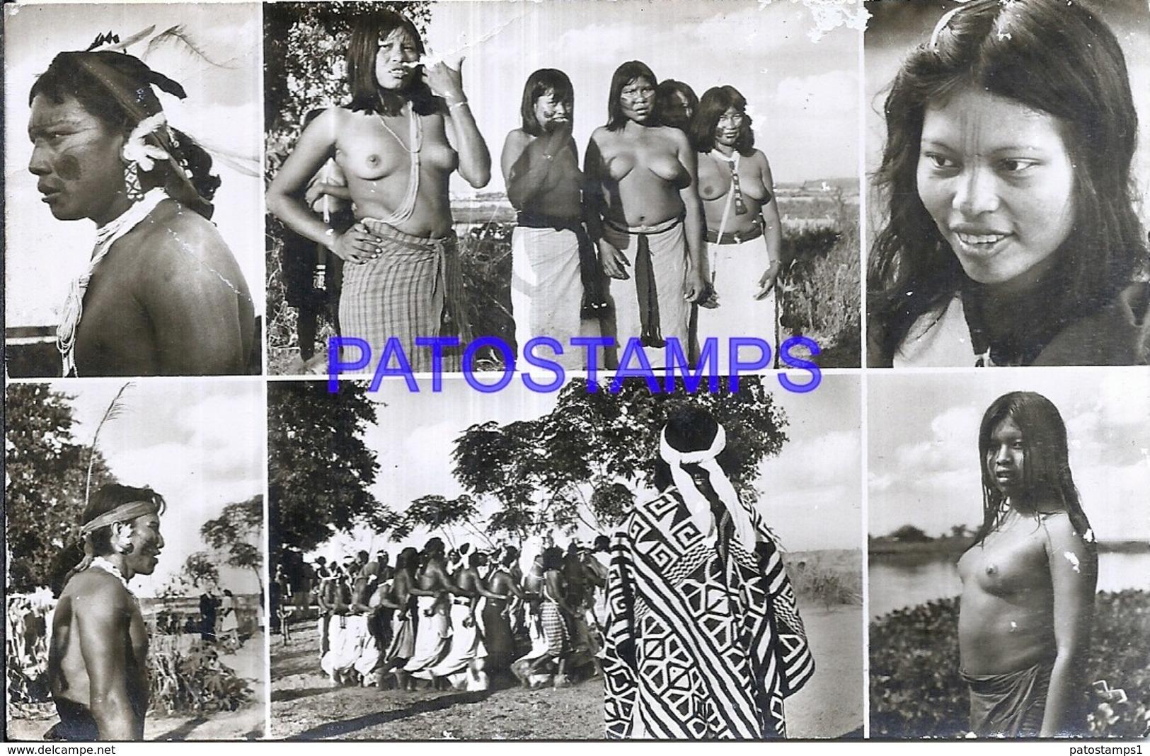 120512 PARAGUAY COSTUMES NATIVE INDIOS MULTI VIEW DAMAGED POSTAL POSTCARD - Paraguay