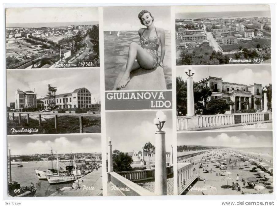 GIULIANOVA LIDO, VEDUTINE, B/N, VG 1957, FINESTRELLE, FORMATO GRANDE    **** - Teramo