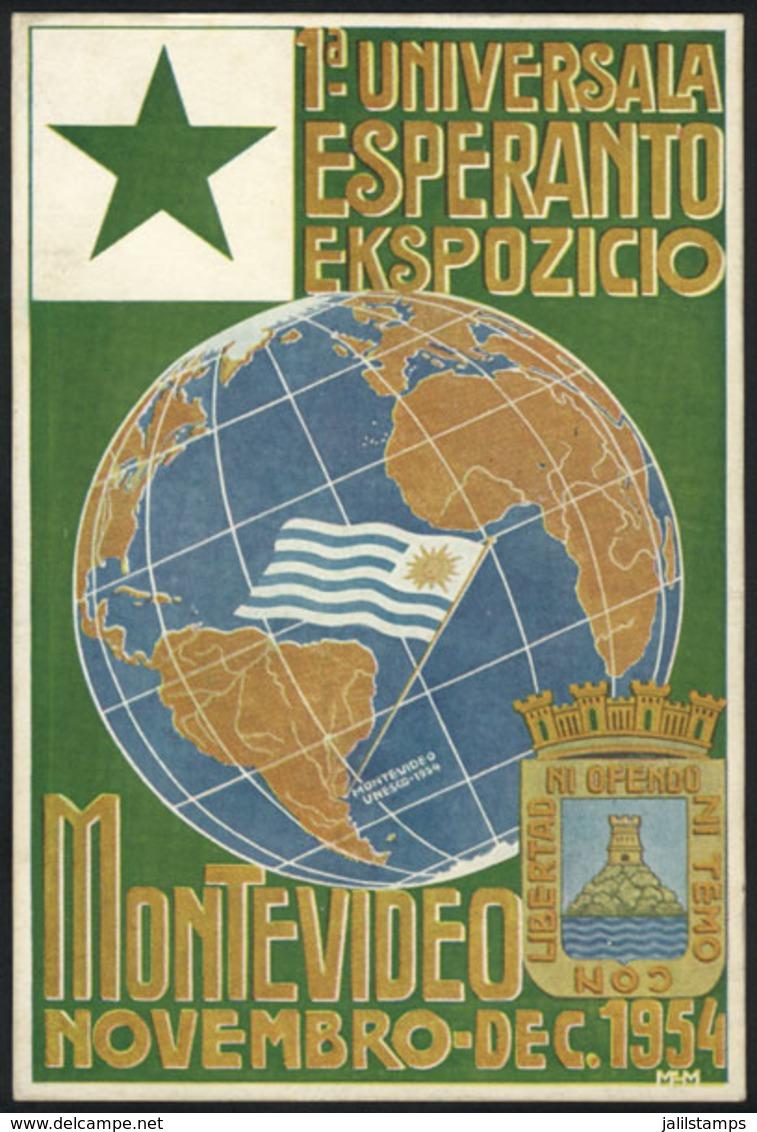 TOPIC ESPERANTO: Postcard Of The First International Esperanto Exhibition In Montevideo (Uruguay), November-December 195 - Esperanto