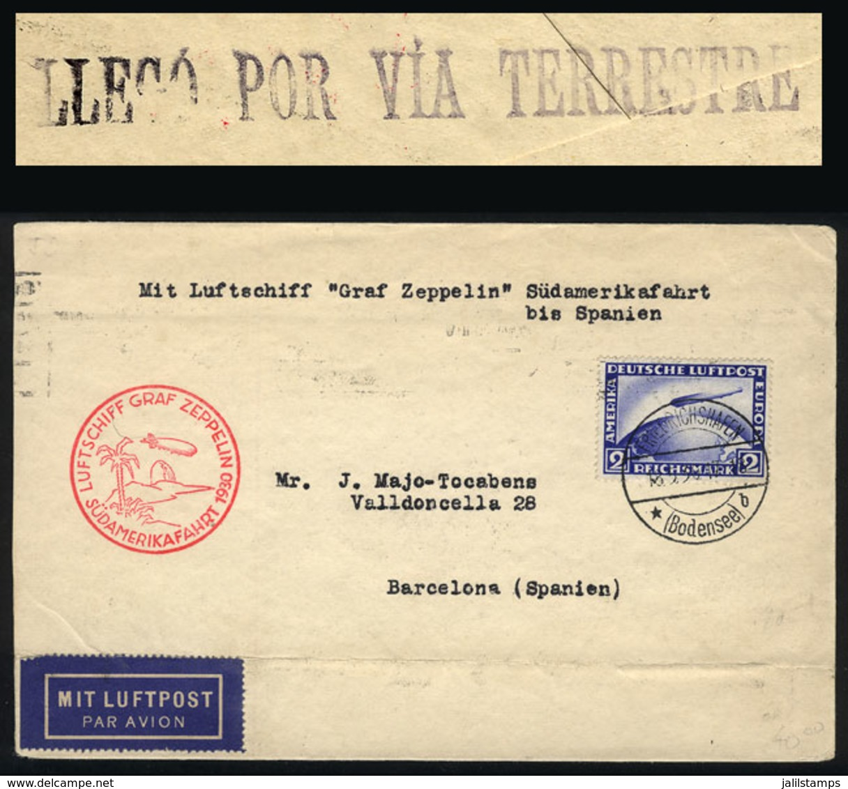 GERMANY: Cover Flown By ZEPPELIN, Sent From Friedrichshafen To Barcelona (Spain) On 18/MAY/1930 Franked With 2Mk. (Sc.C2 - Germany