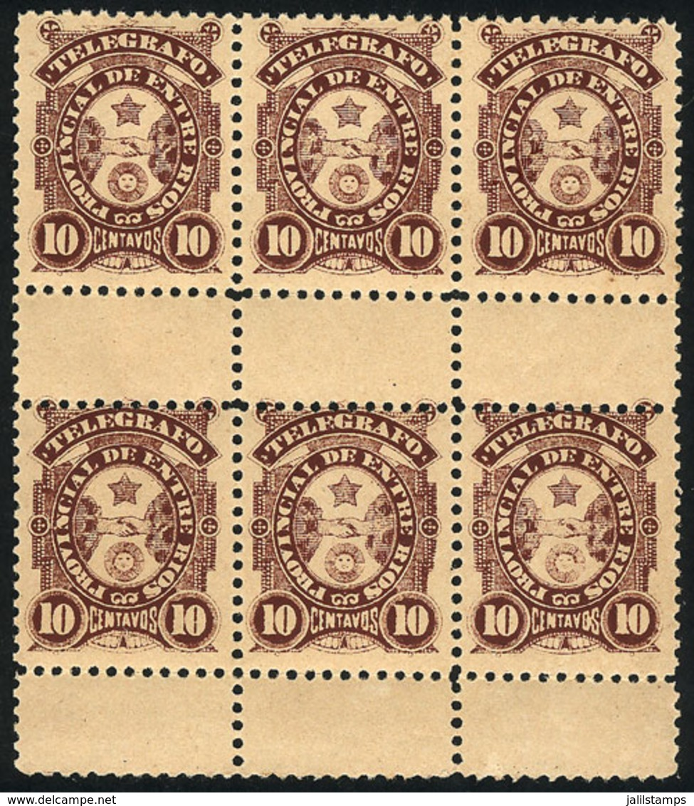 ARGENTINA: GJ.52, Telegraph Of Entre Ríos 10c., Splendid Block Of 6, MNH, Excellent Quality! - Telegraph