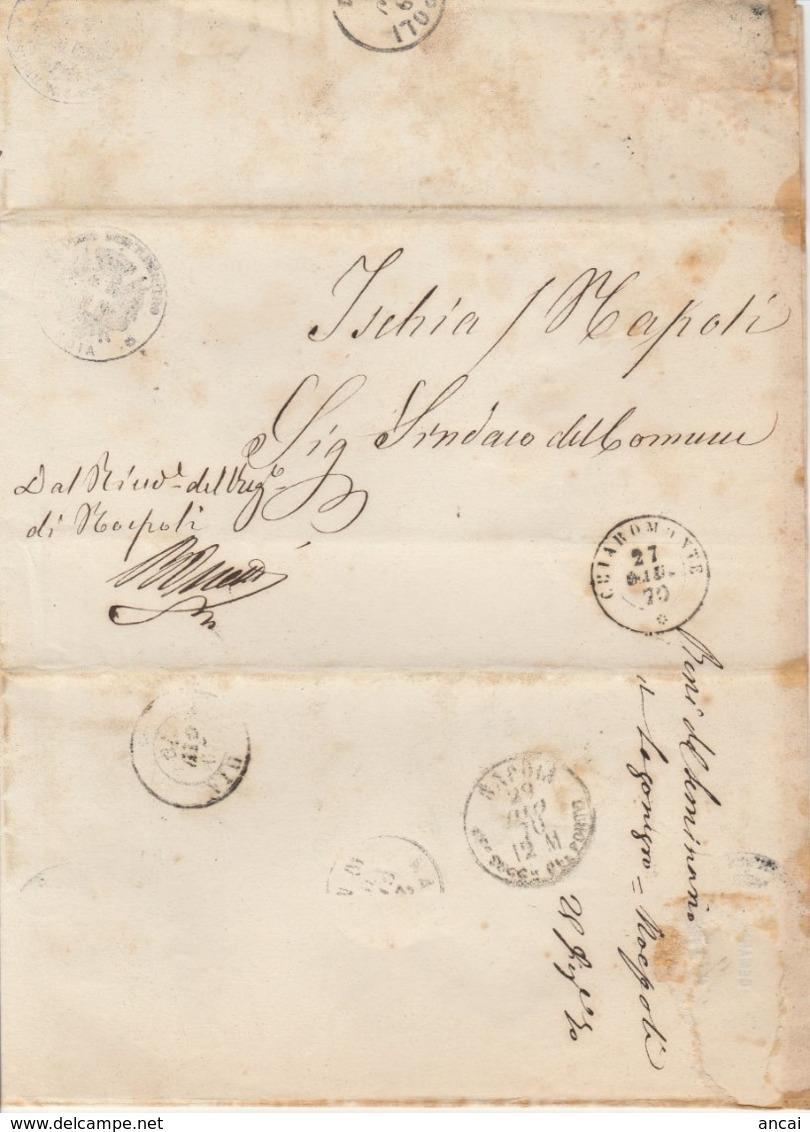 Chiaromonte. 1870. Annullo Doppio Cerchio CHIAROMONTE, Su Lettera In Franchigia, Completa Di Testo - 1861-78 Victor Emmanuel II