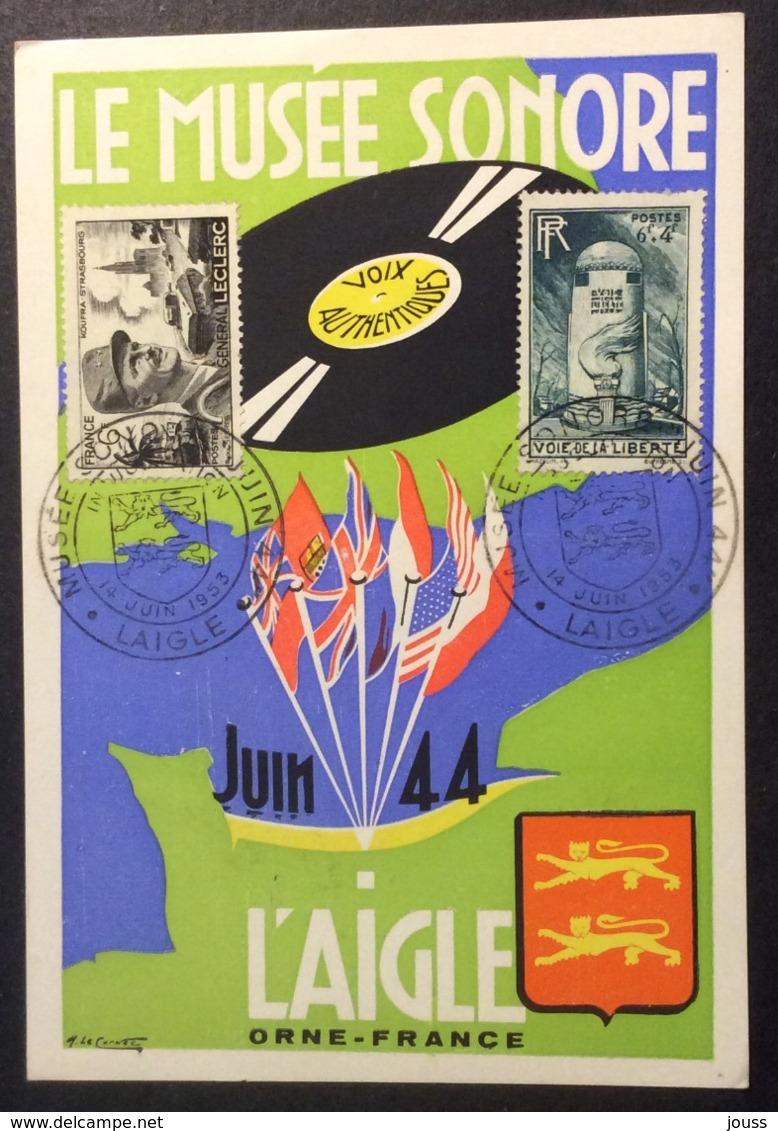 CM313 Carte Maximum Laigle Le Musée Sonore Juin 44 14/6/1953 T 815 Et 788 - Maximum Cards