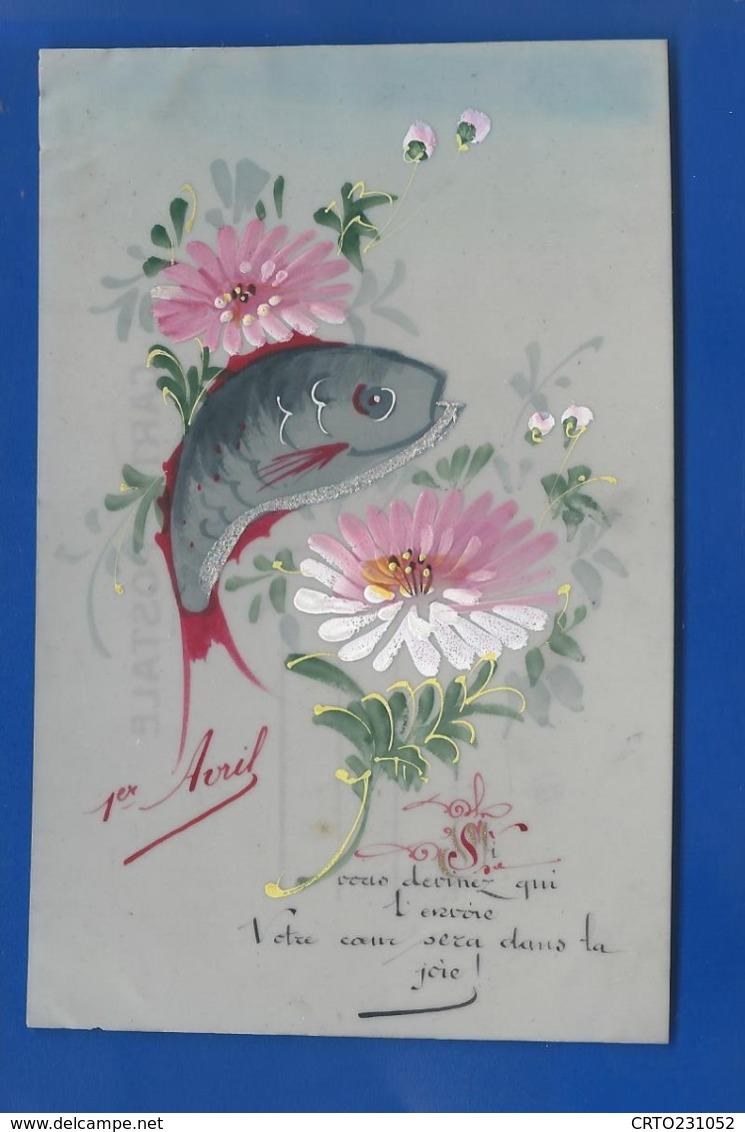 Carte En Celluloid   Peint à La Main   1° Avril Poisson   Fleurs - Erster April
