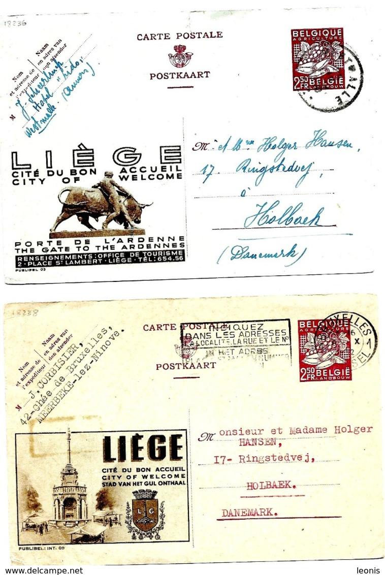LE 0212.. PUBLIBELS POUR L' ETRANGER 03 Obl. WESTMALLE Et 09 Obl. BRUXELLES (légers Défauts) - Enteros Postales