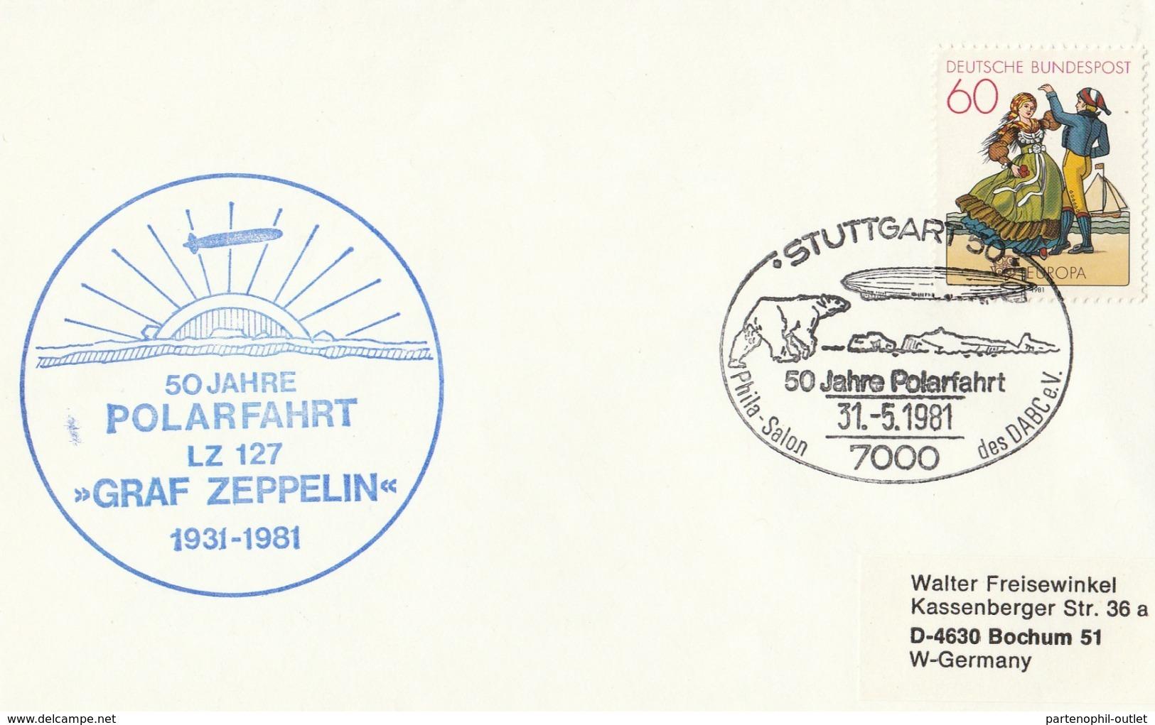 """4 Lettere Con Annullo 50° Anni Polarfahrt LZ 127 - """" Graf Zeppelin """" - Polar Flights"""