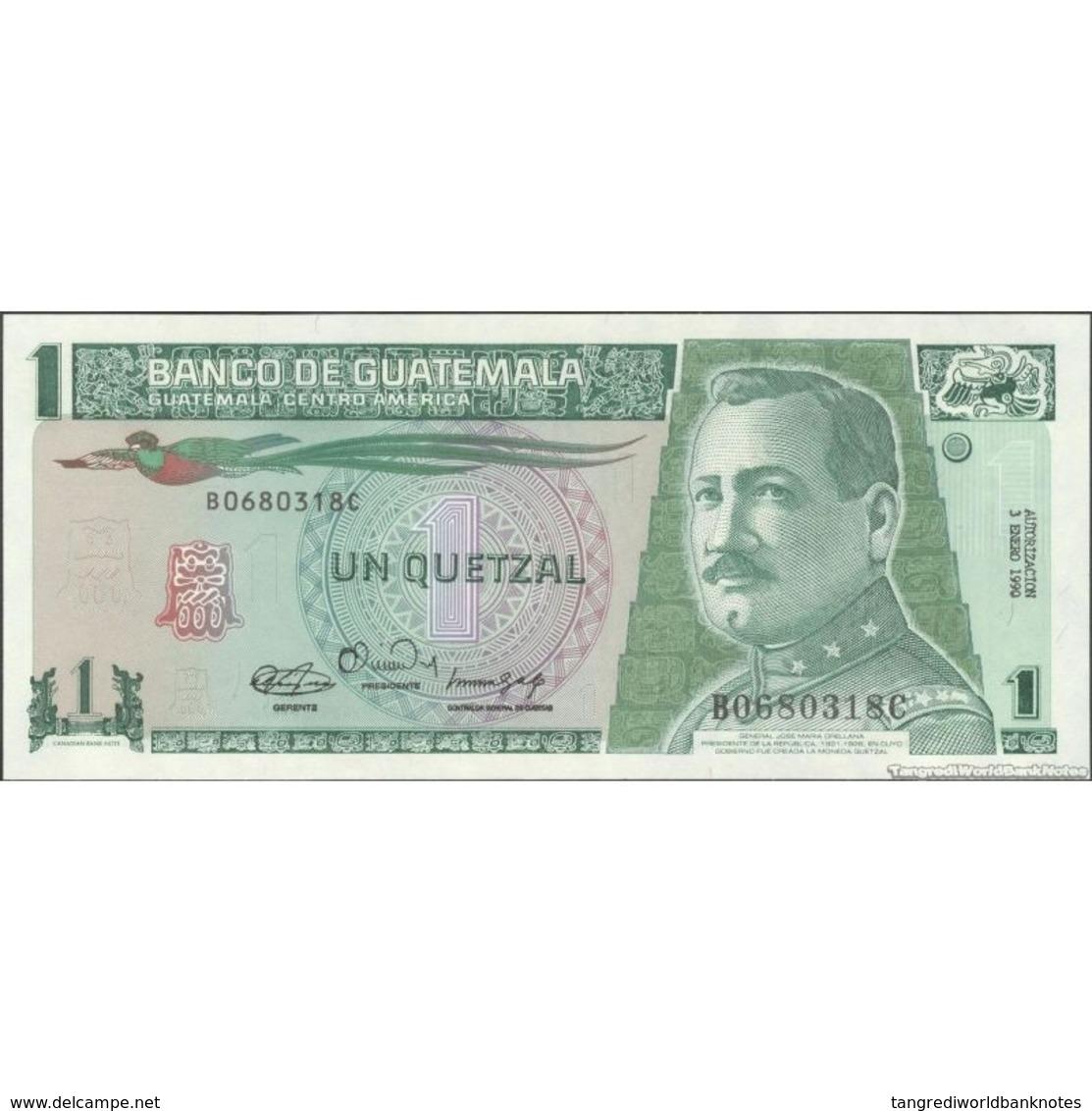 TWN - GUATEMALA 73a3 - 1 Quetzal 3.1.1990 B XXXXXXX C - Printer: CBNC UNC - Guatemala