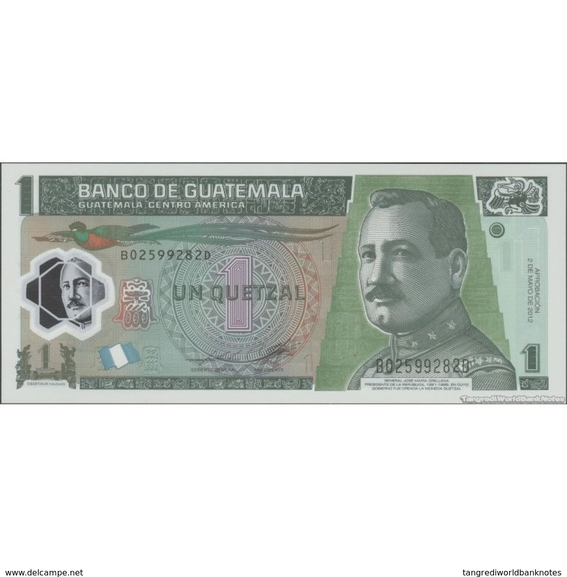 TWN - GUATEMALA 115c - 1 Quetzal 2.5.2012 Polymer - B XXXXXXX D - Printer: OBERTHUR FIDUCIARE UNC - Guatemala