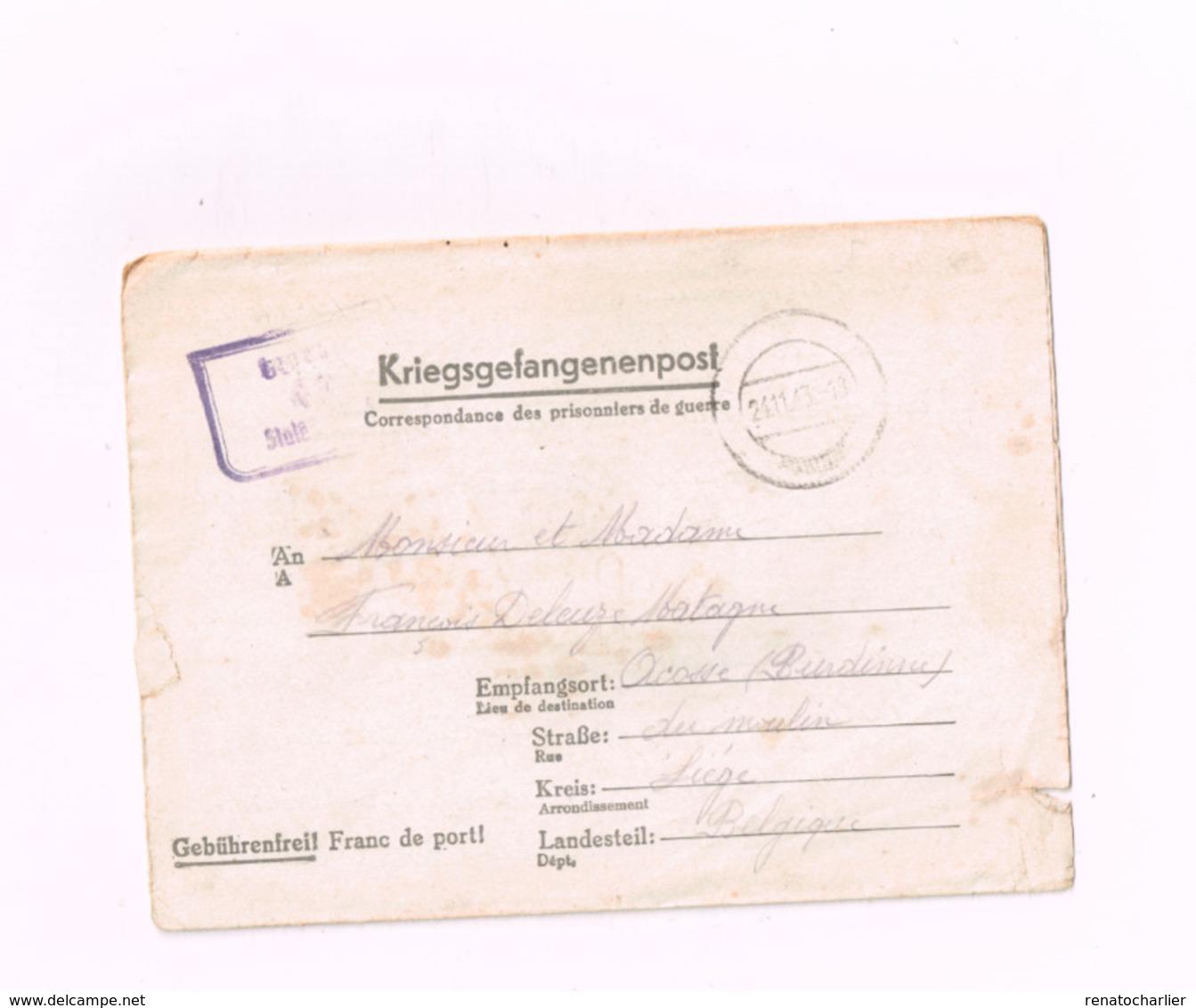Kriegsgefangenenpost.Expédié Du Stalag IV C à Acosse (Burdinne/Belgique).Censuré. - Oorlog 40-45