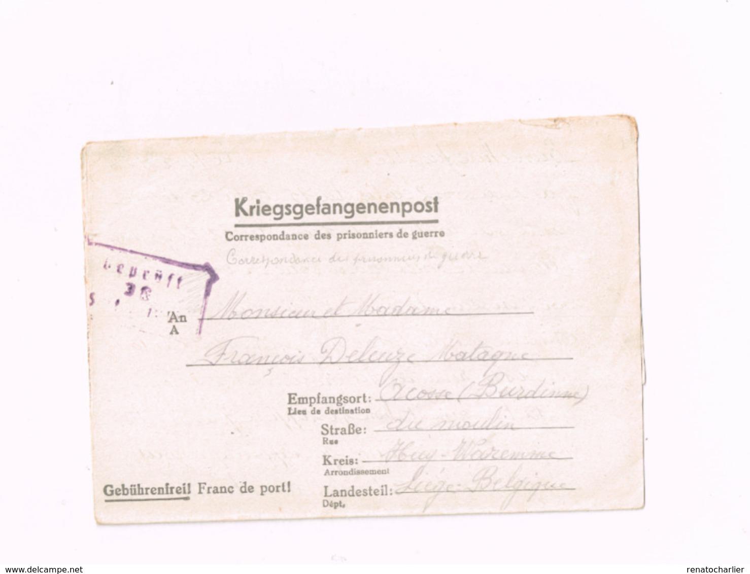 Kriegsgefangenenpost.Expédié Du Stalag IV C à Acosse (Burdinne/Belgique).Censuré. - Guerre 40-45