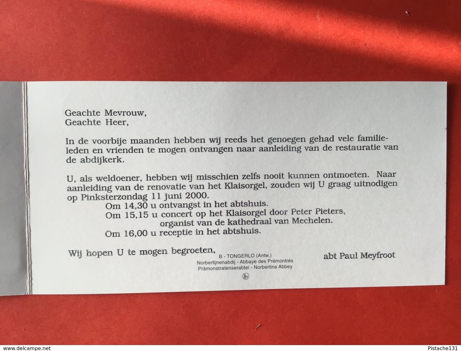NORBERTIJNER ABDIJ TONGERLOO - RESTAURATIE ABDIJKERK - UITNODIGING 11 Juni 2000 - TONGERLO - WESTERLO - Westerlo