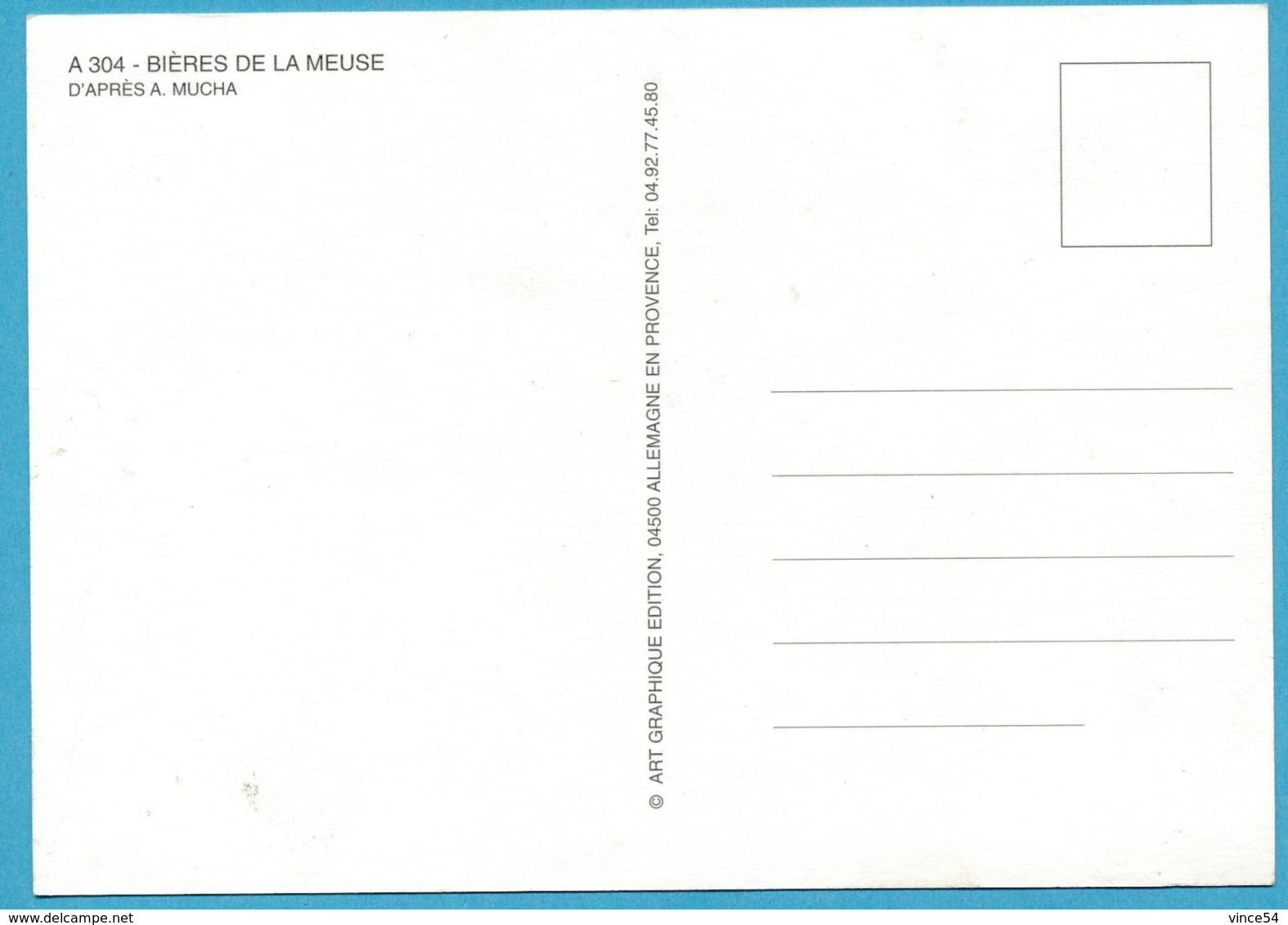 BIERES DE LA MEUSE Repro Ancienne Affiche D'après A. MUCHA - Publicité
