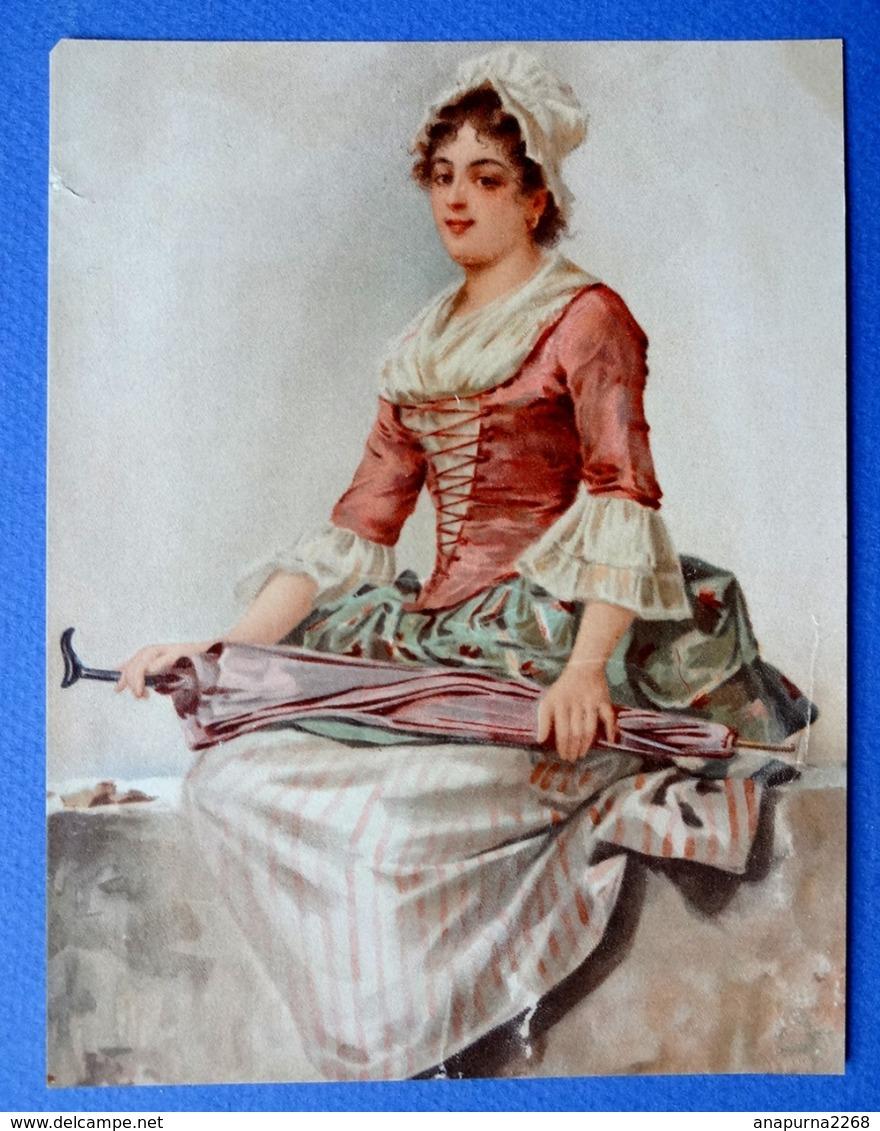 CHROMO LITHOGRAPHIE...FEMME A LA CAMPAGNE AVEC UN GRAND PARASOL REPLIE - Vieux Papiers