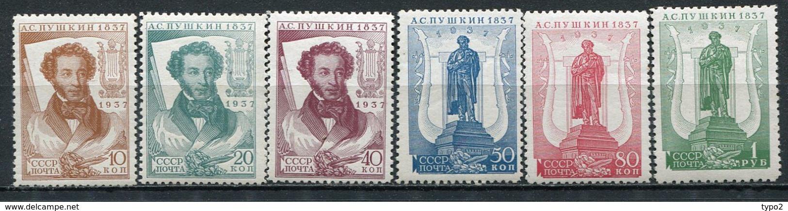 RUSSIE -  Yv N° 590 à 595 * Complet  *  Pouchkine   Cote  20  Euro  TBE  2 Scans - 1923-1991 UdSSR