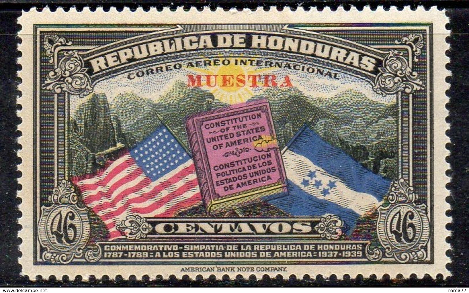 APR2910 - HONDURAS 1937 , Posta Aerea Yvert N. 79  ***  Integro (2380A) Spst MUESTRA / SAGGIO - Honduras