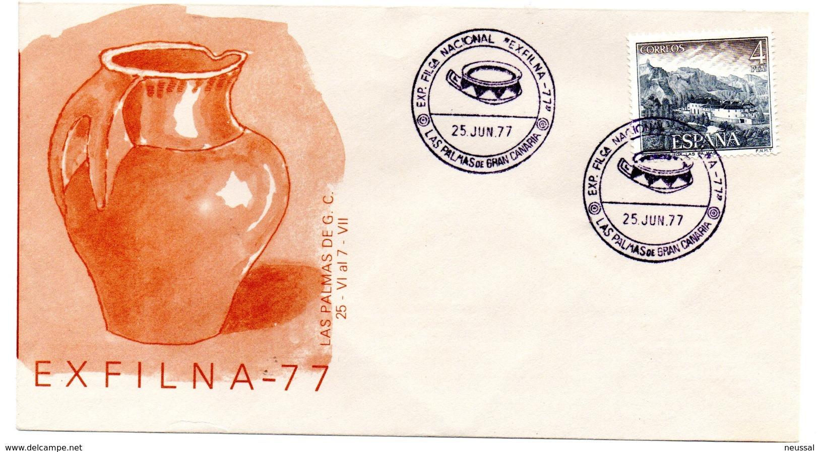 Carta Con Matasellos Commemorativo Exfilna 1977 Las Palmas De Gran Canarias - 1931-Hoy: 2ª República - ... Juan Carlos I