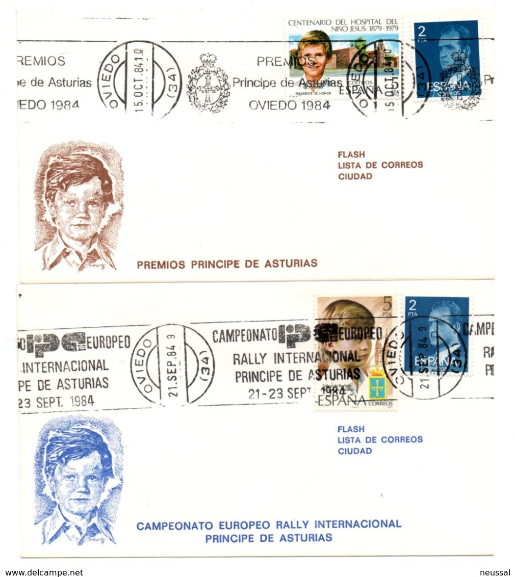 2 Cartas Con Matasellos Commemorativo En Rodillo  Diferentes De 1984 - 1931-Hoy: 2ª República - ... Juan Carlos I