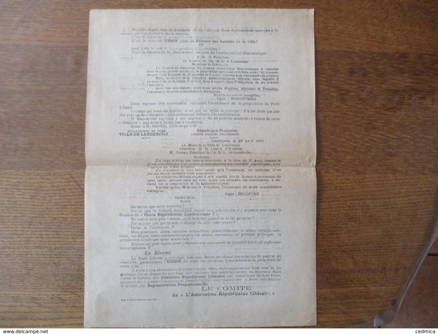 """1908 LA REPRESENTATION PROPORTIONNELLE A LANDRECIES TRACT DU COMITE DE """"L'ASSOCIATION REPUBLICAINE LIBERALE"""" - Historische Dokumente"""